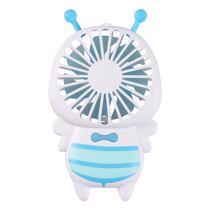 Portable USB Charging Cartoon Bee Shape Fan with LED 7Colors Change Light blue
