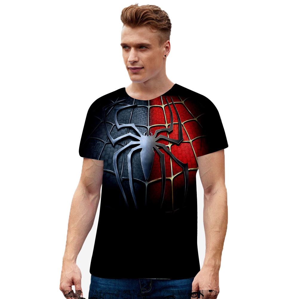 Fashion Cool Spiderman 3D Printing Summer Casual Short Sleeve T-shirt for Men Women Q_XXL