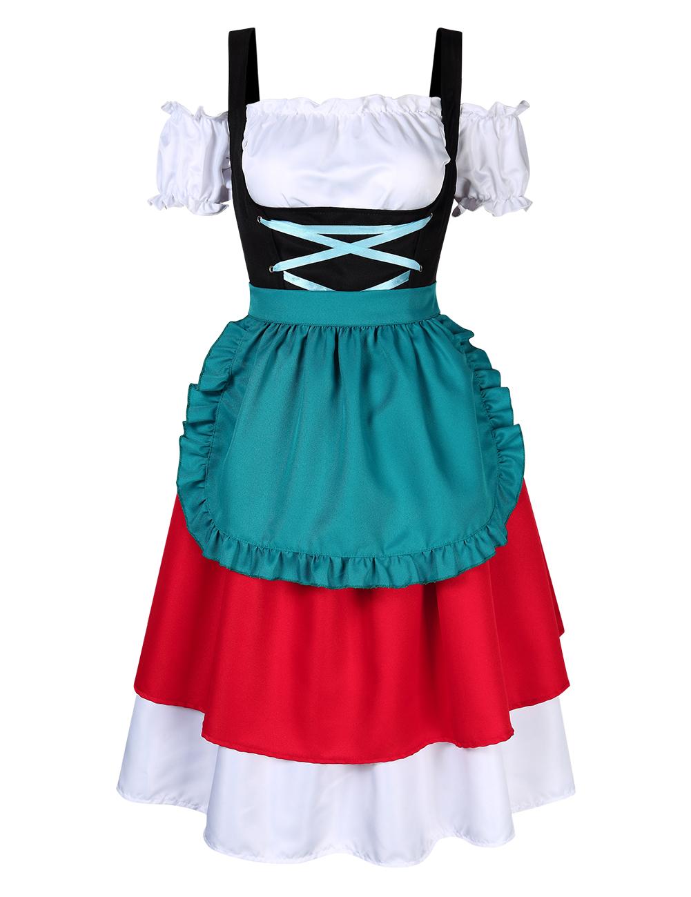 [EU Direct] Women's Retro Color Block Stylish Cold Shoulder Ruched Midi Dress Suit