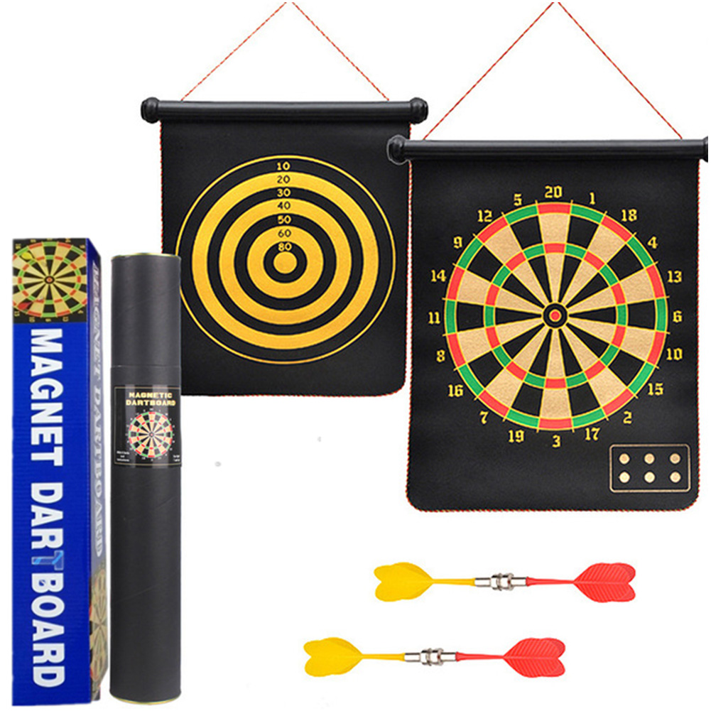 Magnetic Dart Board Double Sided Flocking Dartboards Safety Game Board Toy 15 inch color box