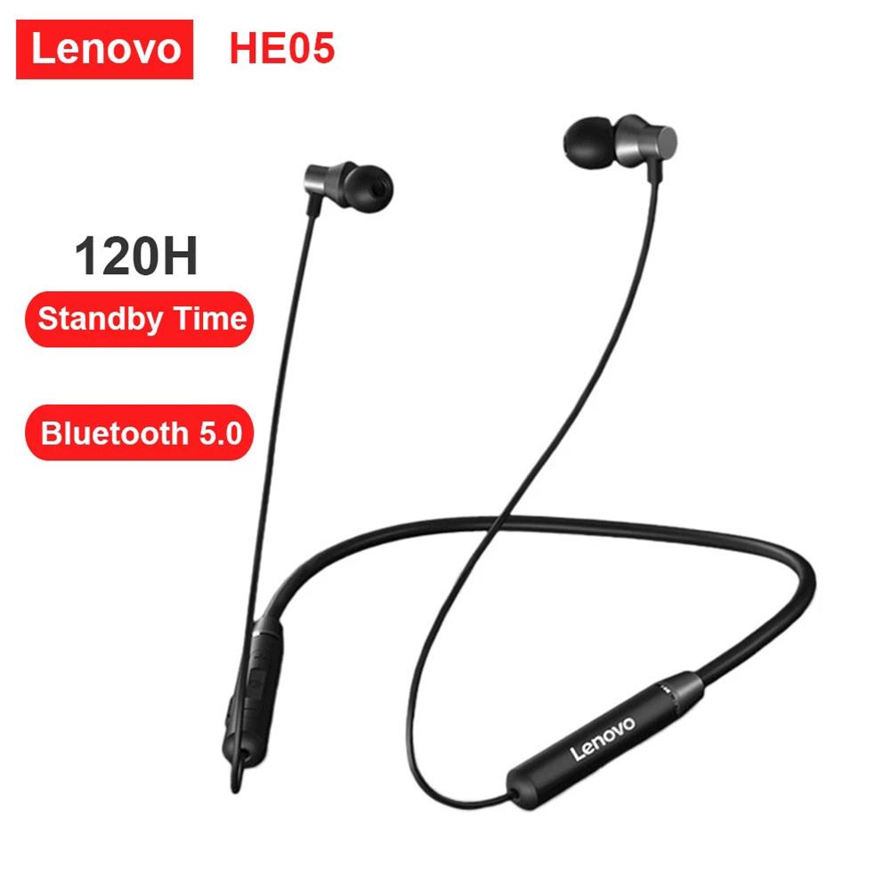 Original LENOVO He05 Wireless Neckband Earphone Bluetooth 5.0 Stereo Sports Magnetic Ipx5 Waterproof Headset black