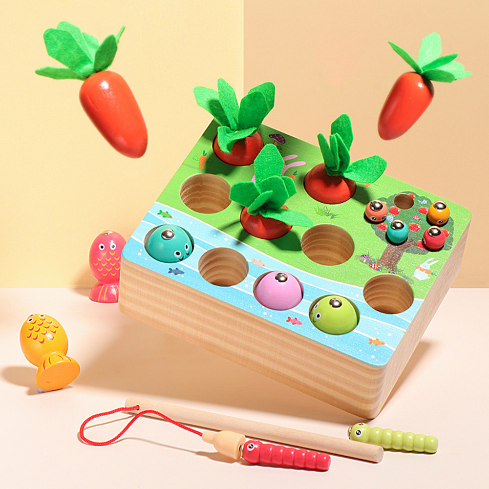 3-in-1 Catching  Game Toy Radish Pulling Fishing Insect For Children Early Education Educational Wooden  Toys Color pattern