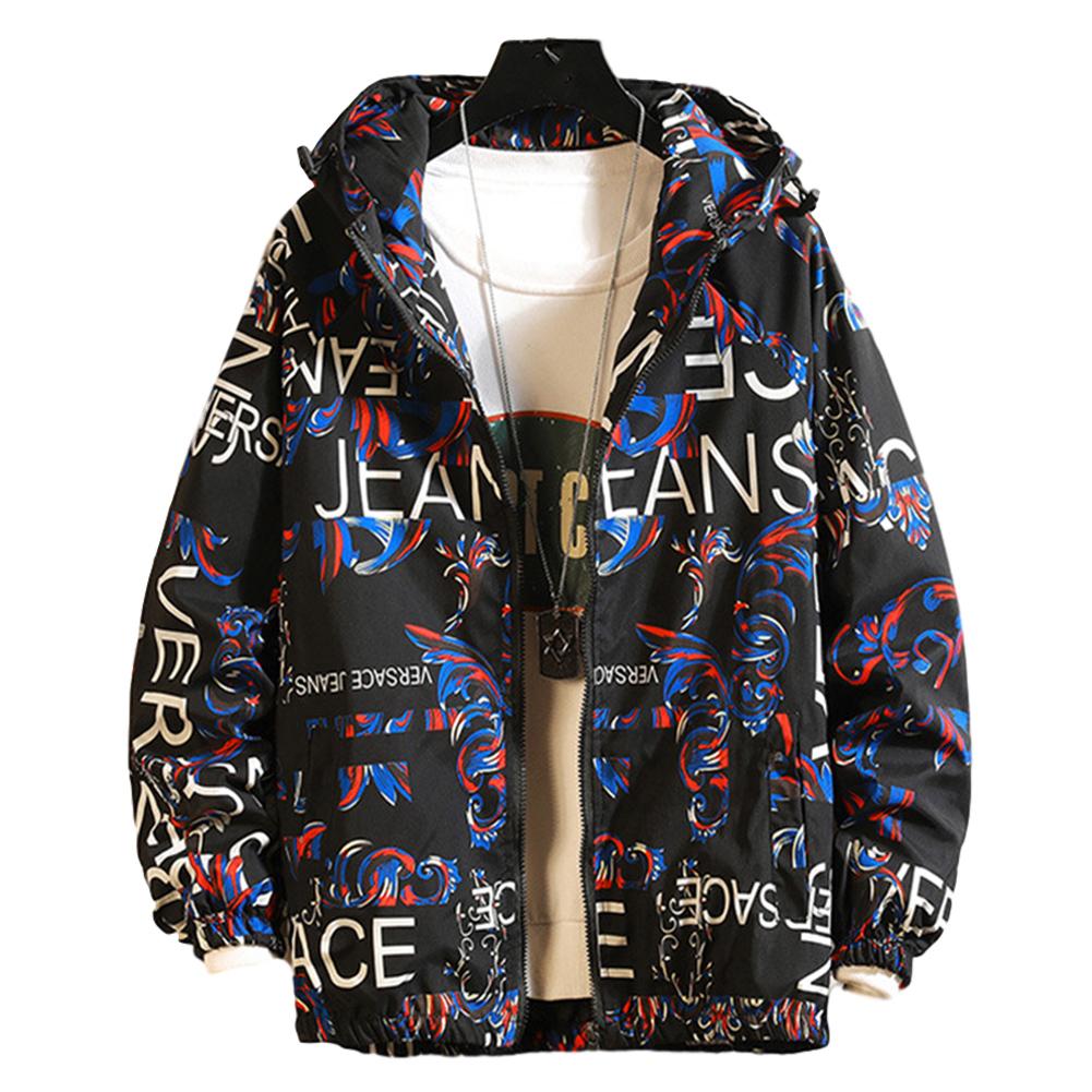 Men's Baseball Jacket Spring and Autumn Loose Large Size Casual Jacket  blue_M