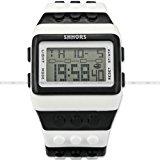 SHHORS Waterproof Quartz Digital LED Stopwatch Sport Rubber Watch White Black LED095