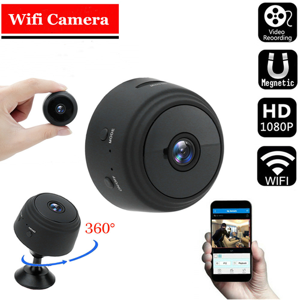 A9 Mini Camera Remote Monitor Home Security 1080p Ip Camera Ir Night Wireless Wifi Mini  Camcorder black