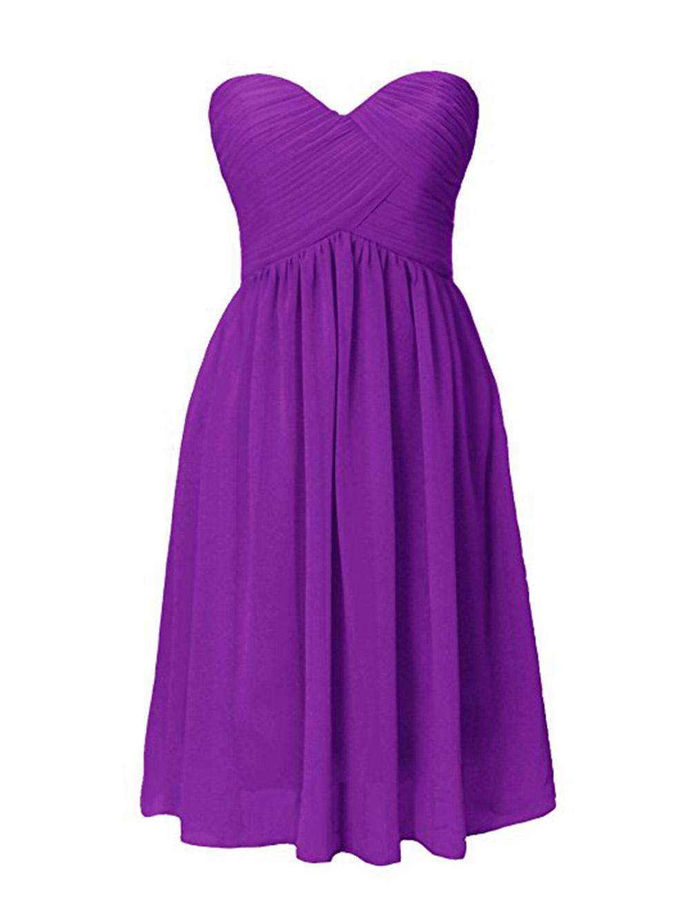 Women's Sweetheart Pleated Strapless Chiffon Bridesmaid Knee-Length Evening Dress
