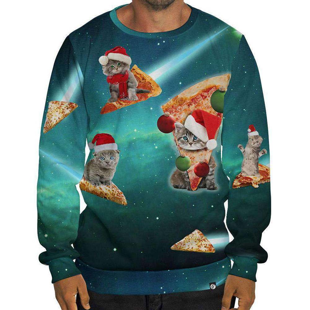 Fashion Unisex Digital Printed Christmas Style Long-sleeve Shirts Casual Tops