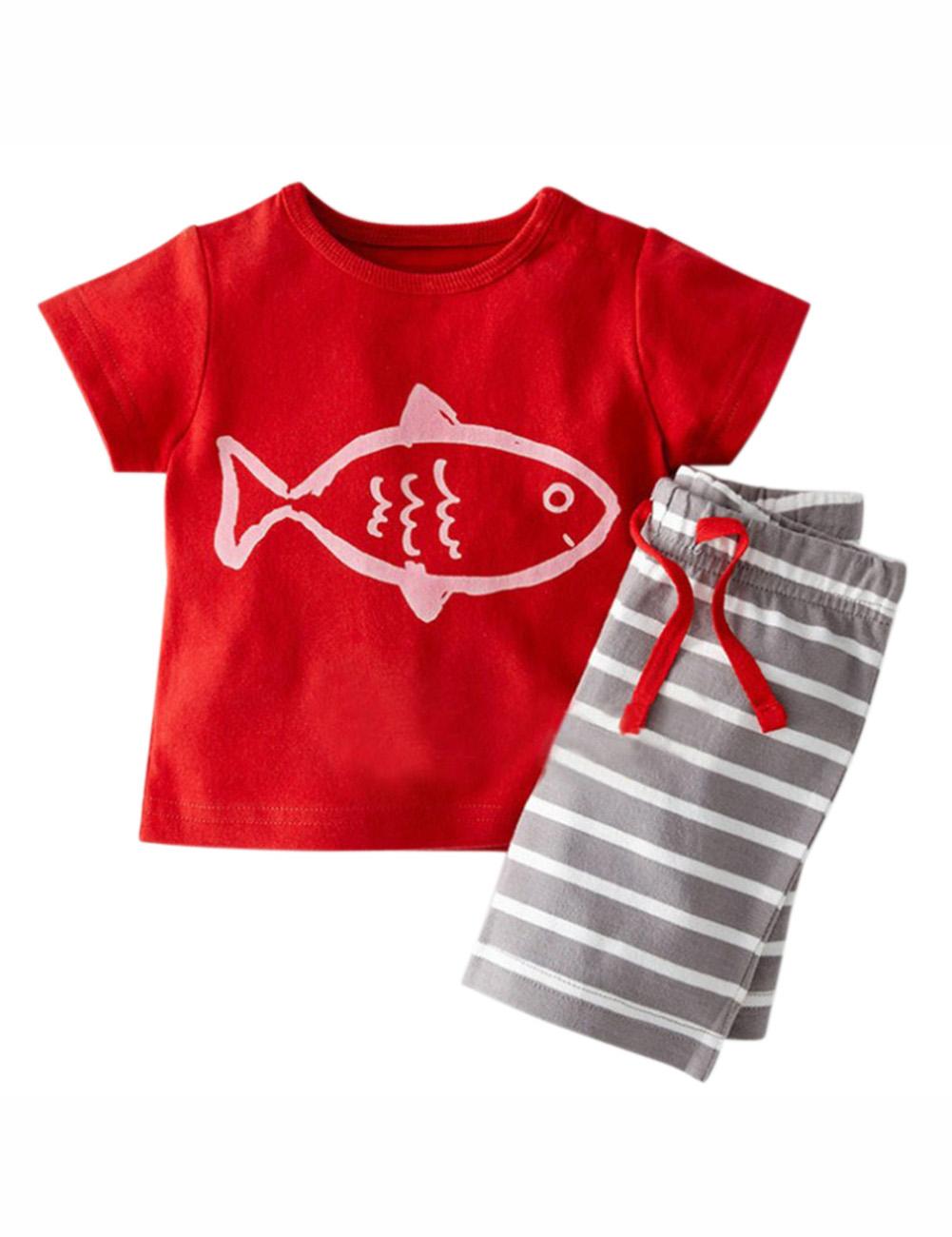 Kidlove Lovely Stripe Cute Cartoon Toddler Kids Baby Boy Clothes Cotton Tops&Pants Set