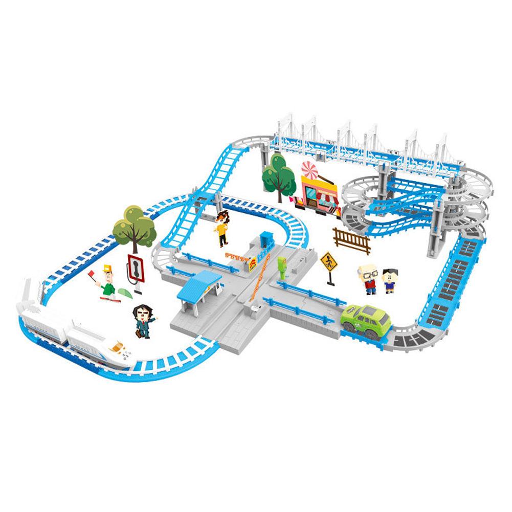 Children Plastic Parking Toy Set Three-dimensional Multi-layer Car Assembly Rail Car Parent-child Interaction Gift Boy Toys Orbit (101PCS)