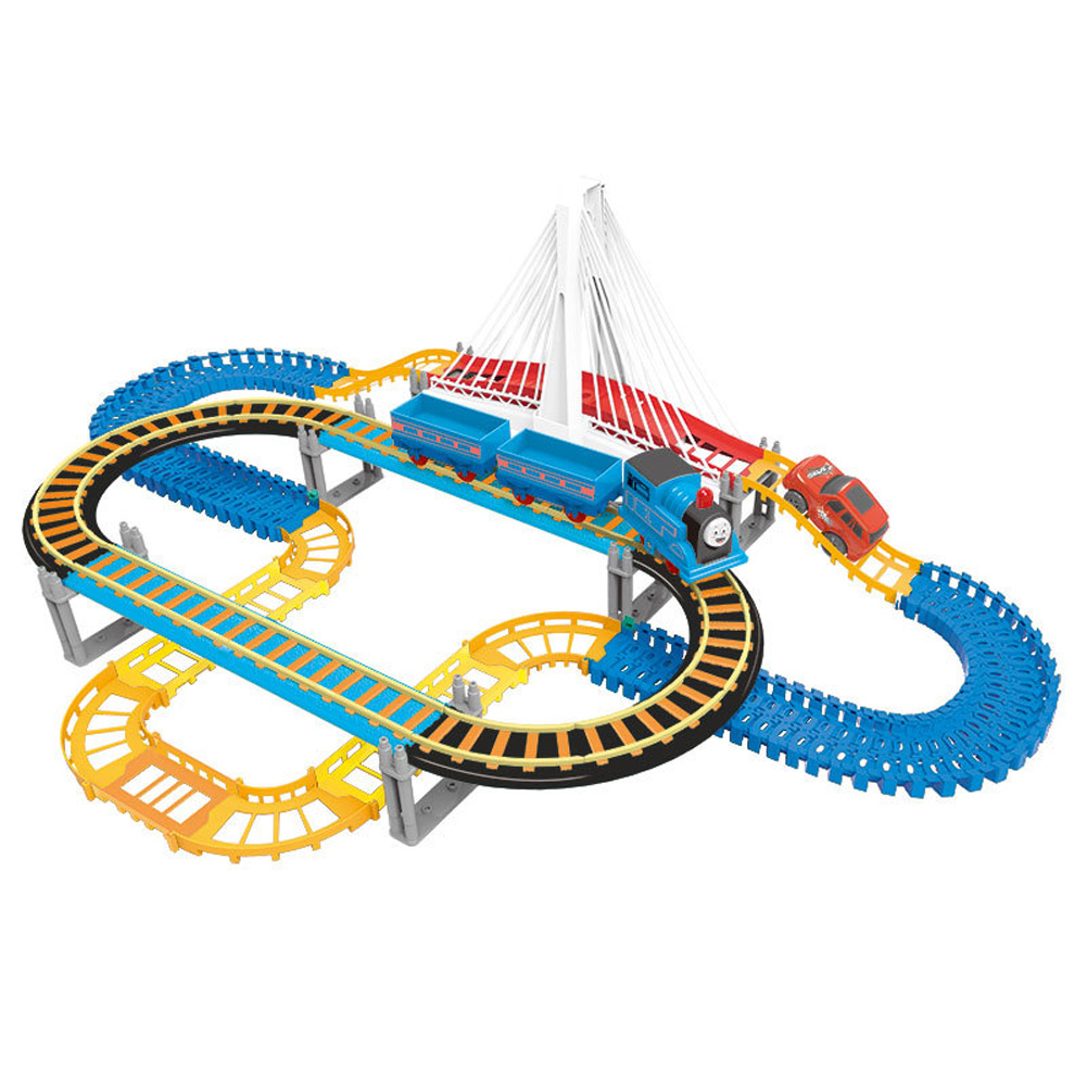 Children Plastic Parking Toy Set Three-dimensional Multi-layer Car Assembly Rail Car Parent-child Interaction Gift Boy Toys Orbit (135PCS)
