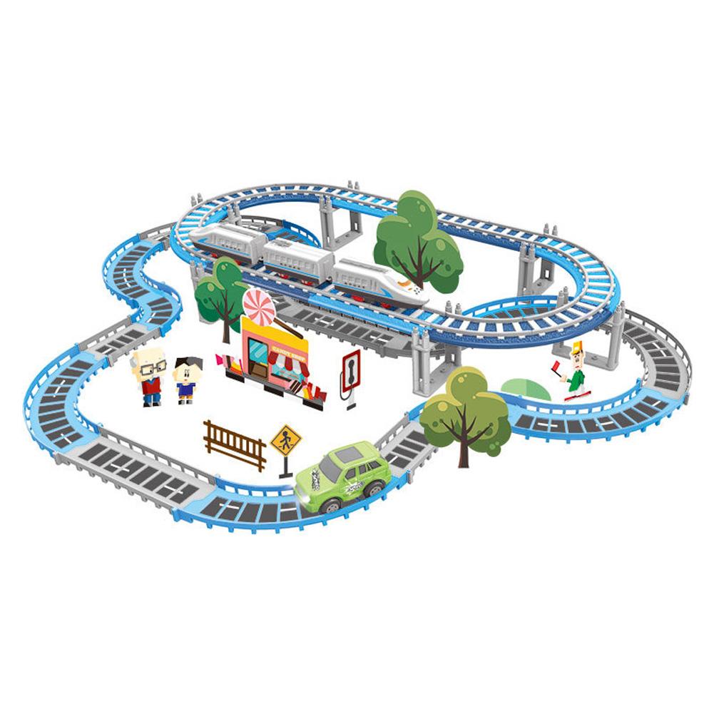 Children Plastic Parking Toy Set Three-dimensional Multi-layer Car Assembly Rail Car Parent-child Interaction Gift Boy Toys Orbit (71PCS)