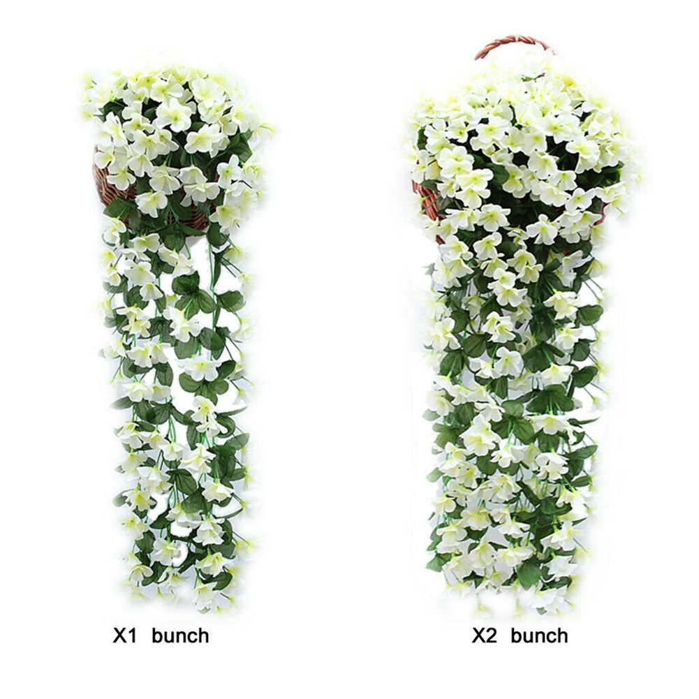 1 Bunch  Of Wall-mounted  Flower Silk Flower Simulation Chlorophytum Decorative Fake Flower white