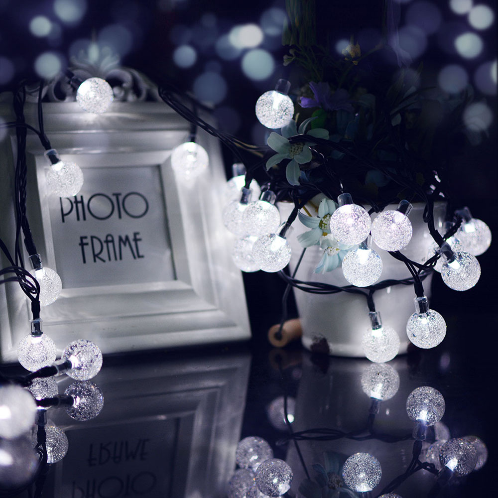 7M 50LEDs Solar Powered Bubble Ball Shape String Lights for Garden Lawn Party Wedding Decor White light_(ME0003401)