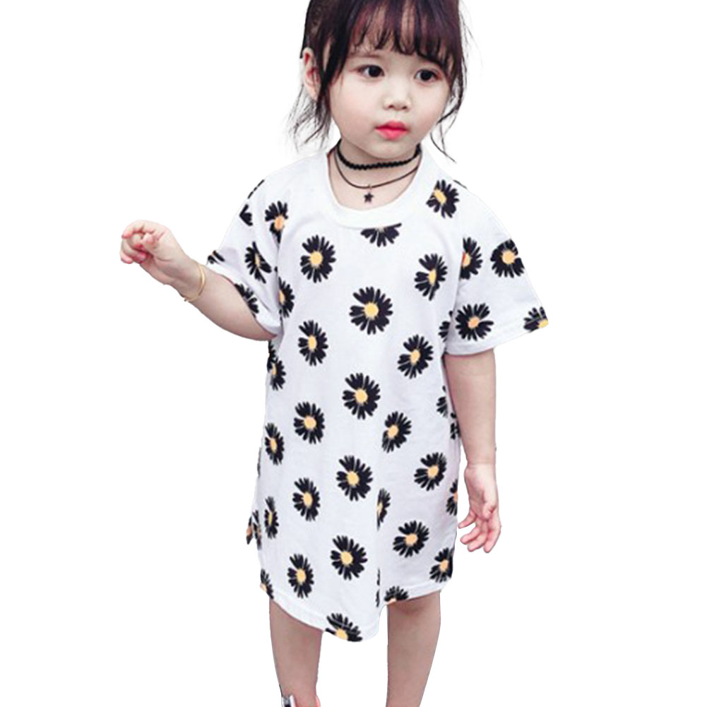 Girls Dress Cotton Daisy Short Sleeve T-shirt Dress for 2-6 Years Old Kids white_110cm