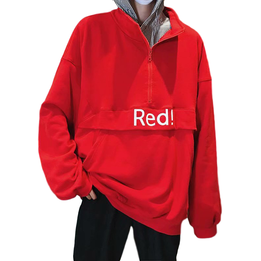 Men's Hoodie Autumn and Winter Loose Pullover Letter Printing Jacket Red _XL