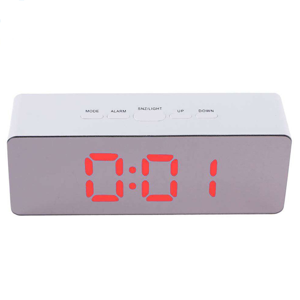 Simple Home Multi-Function LED Digital Alarm Clock PVC Rectangular Light TS-S69-R