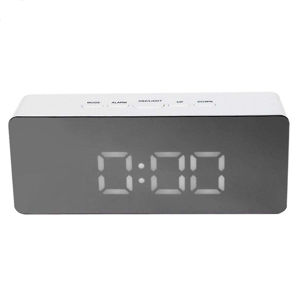 Simple Home Multi-Function LED Digital Alarm Clock PVC Rectangular Light TS-S69-W
