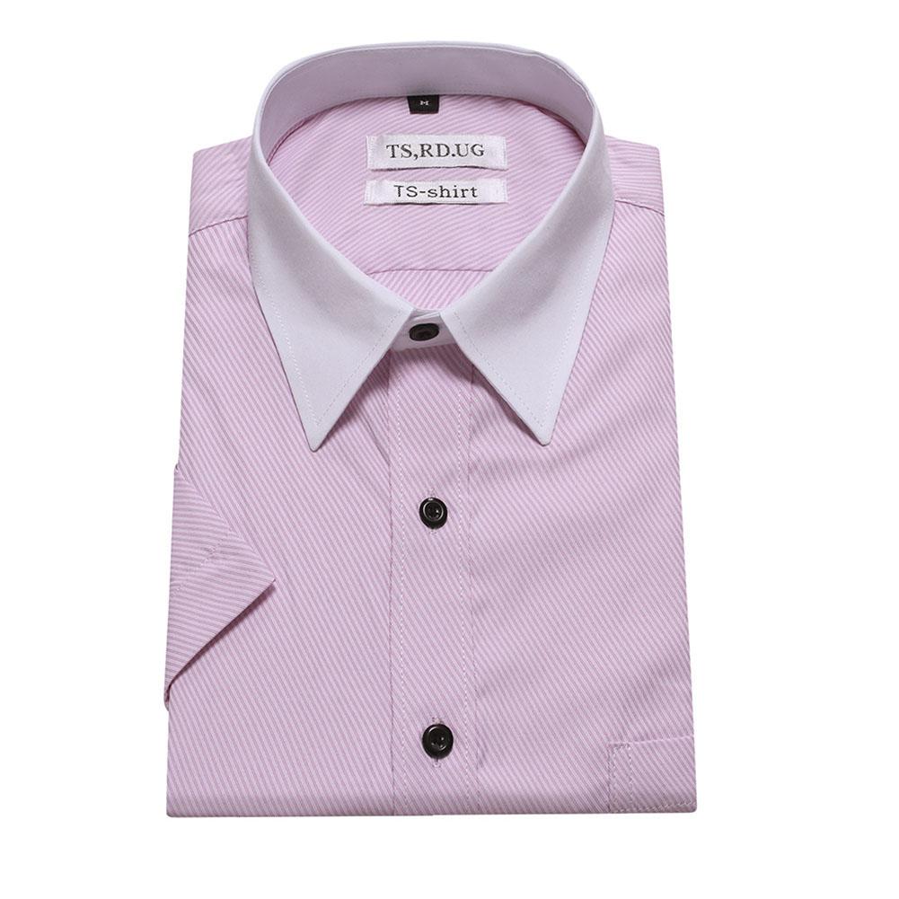 Men Short Sleeve Formal Shirt Casual Business Autumn Lapel Adults Tops Pink_L