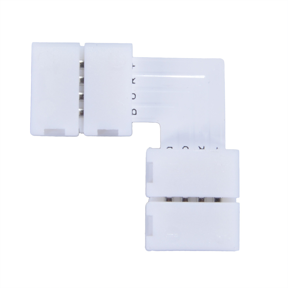 LED Strip Connector 4Pin 10mm L Shape For Connecting Corner Right Angle RGB 5050