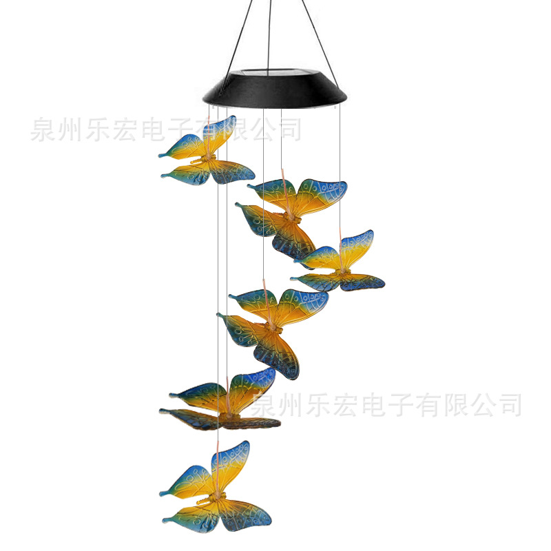 Solar Power Wind Chime Light Led 7 Colors Change Butterfly Shape Decoratieve Hanging Lamp for Garden Decor Blue butterfly wind chimes