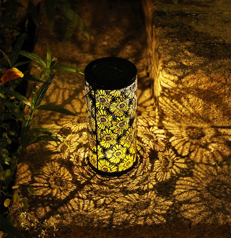 LED Solar Lantern Outdoor Decorative Metal Hanging Lights for Garden Yard Tabletop Patio Lawn  warm light_chrysanthemum