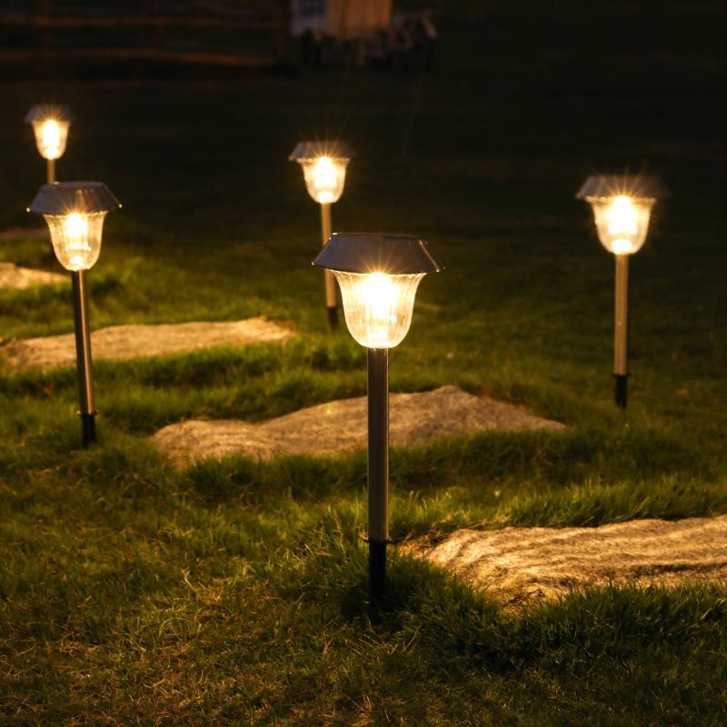 2Pcs LED Solar Garden Light Outdoor Stainless Steel Pathway Lights for Garden Lawn Walkway