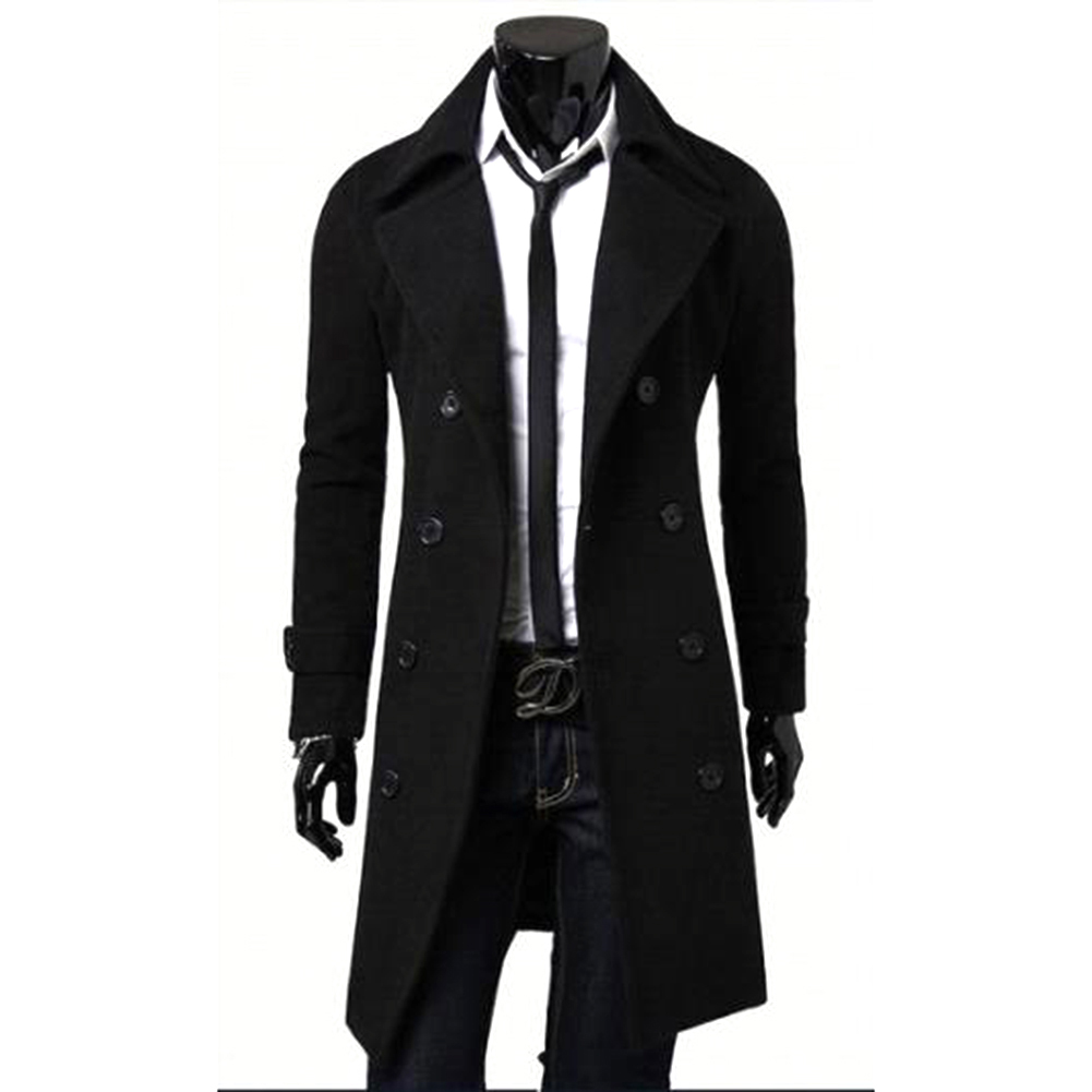 Long Trench Coat Warm Thicken Woolen Long Overcoat Quality Slim Black Male Overcoat black_XL