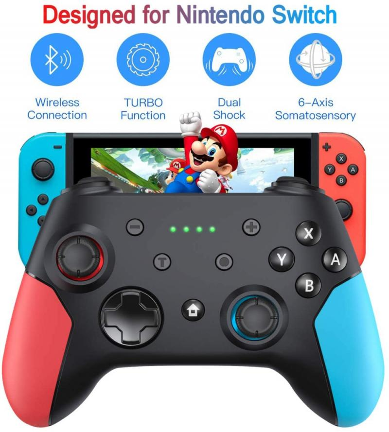 PC Wireless Bluetooth Game Switch Handle Gamepad Continuous Viberation Game Joystick Controller Left red right blue