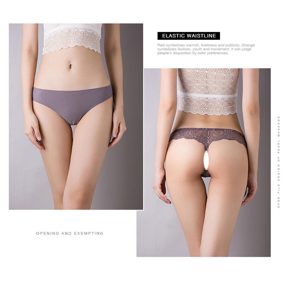 Women Seamless G-string Ice Silk Low Waist Sports Fitness Underwear Briefs Panties light grey