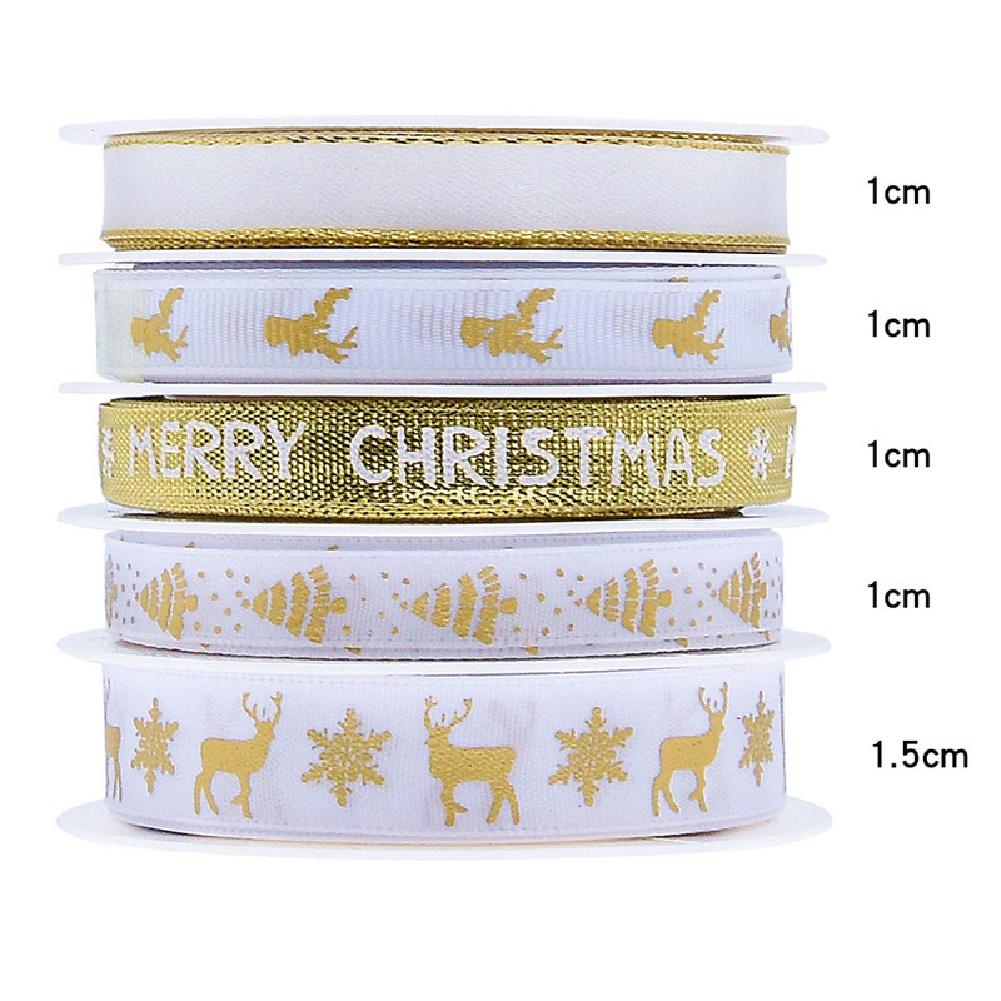 5Pcs/Set Christmas Printing Ribbon Gift Packing Decoration Diy Ribbons Roll Gold-D