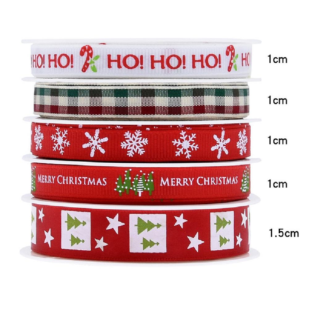 5Pcs/Set Christmas Printing Ribbon Gift Packing Decoration Diy Ribbons Roll Red-B