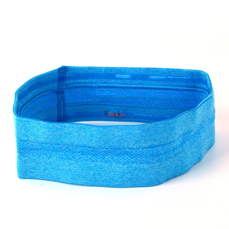 Elastic Absorbent Sweat Bands Yoga Running Fitness Headband Sports Stretch Hair Wrap Brace blue