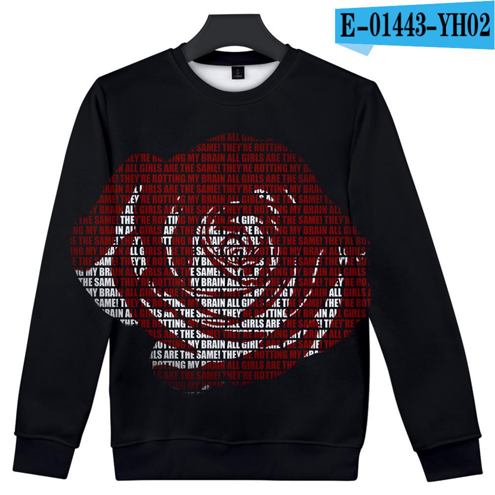 Men Women Sweatshirt Juice WRLD Portrait Flower Skull Crew Neck Unisex Loose Pullover Tops E-01443_XXL