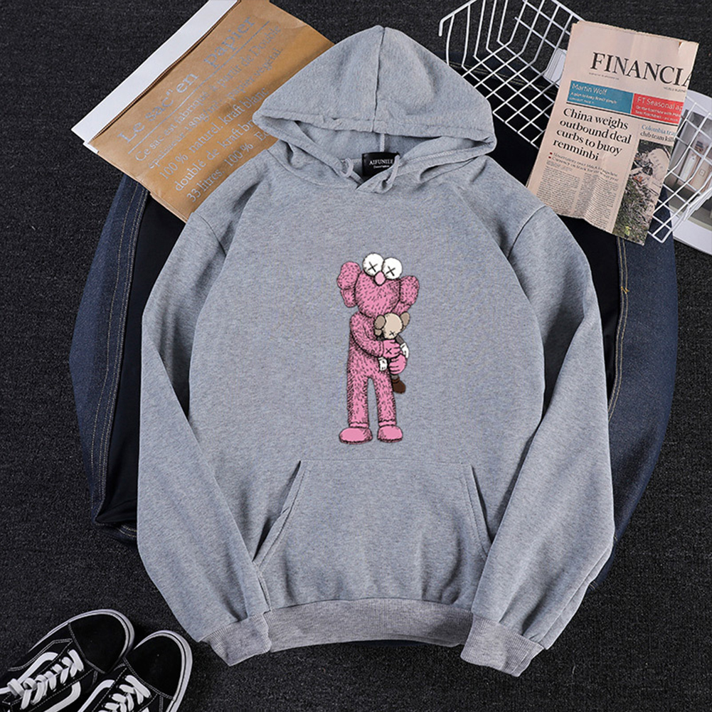 KAWS Men Women Cartoon Hoodie Sweatshirt Holding Doll Thicken Autumn Winter Loose Pullover Gray_M