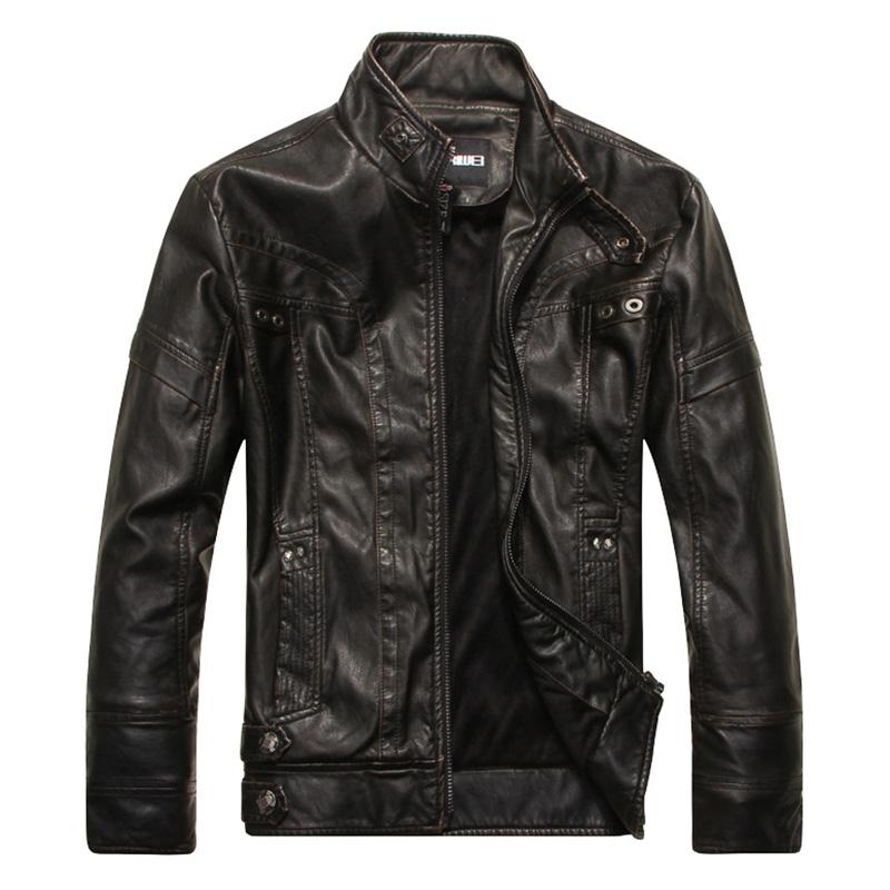 Men Motorcycle Leather Jacket Zipper Cool Fashionable Slim Fit PU Coat Top black_M