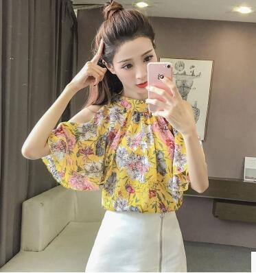 2018 New Print Chiffon Blouses Women Summer Sexy Off Shoulder Tops Slim Fashion Casual Ladies Shirts For Woman Pink Yellow