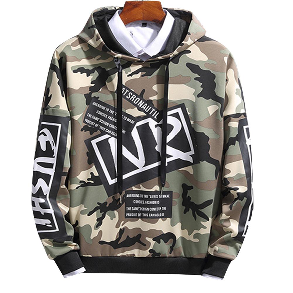 Unisex Hip-hop Style Fashion Camouflage Pattern Printing Stylish Hoody  Camouflage green_XL