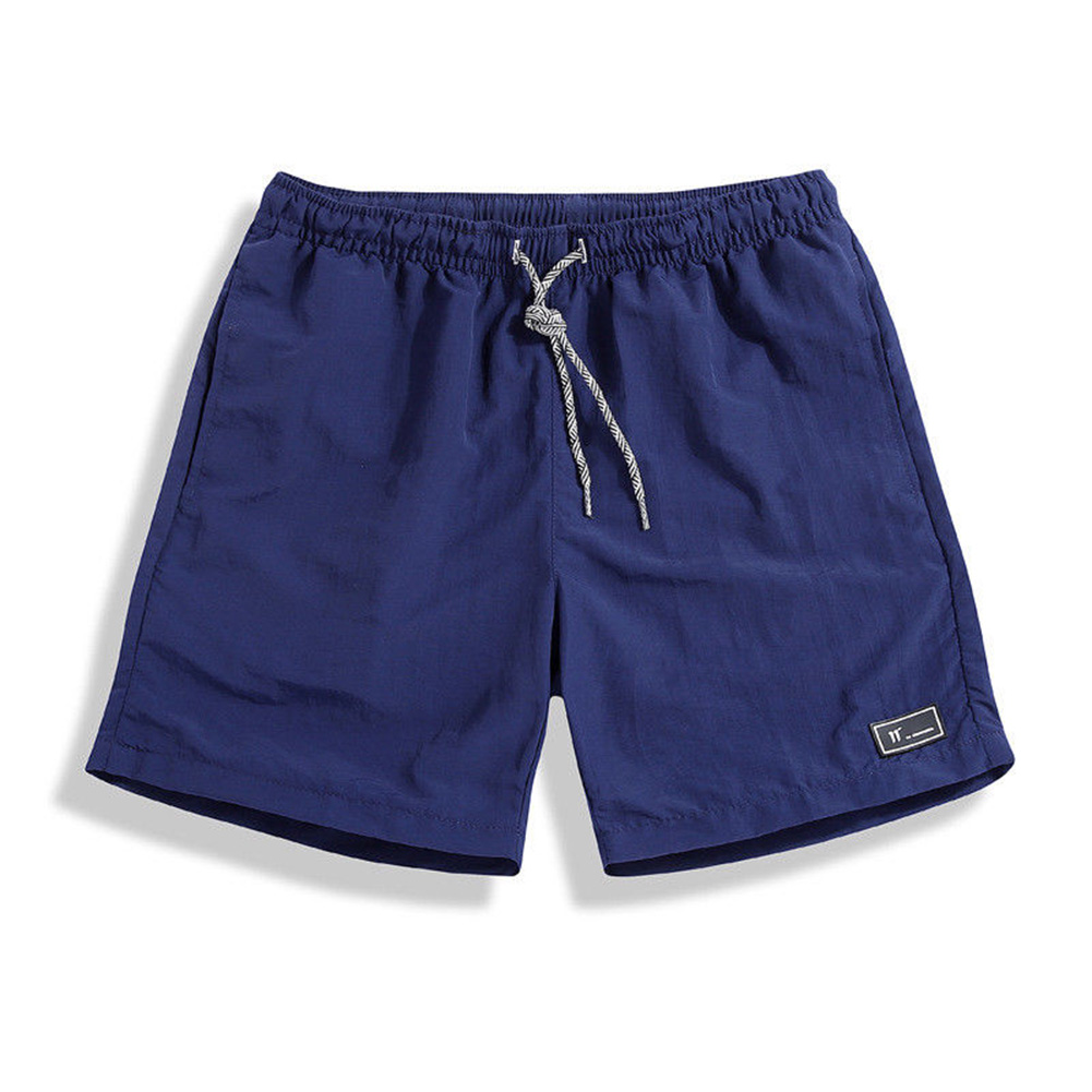 Men Summer Thin Casual Sports Middle Length Pants  navy_M