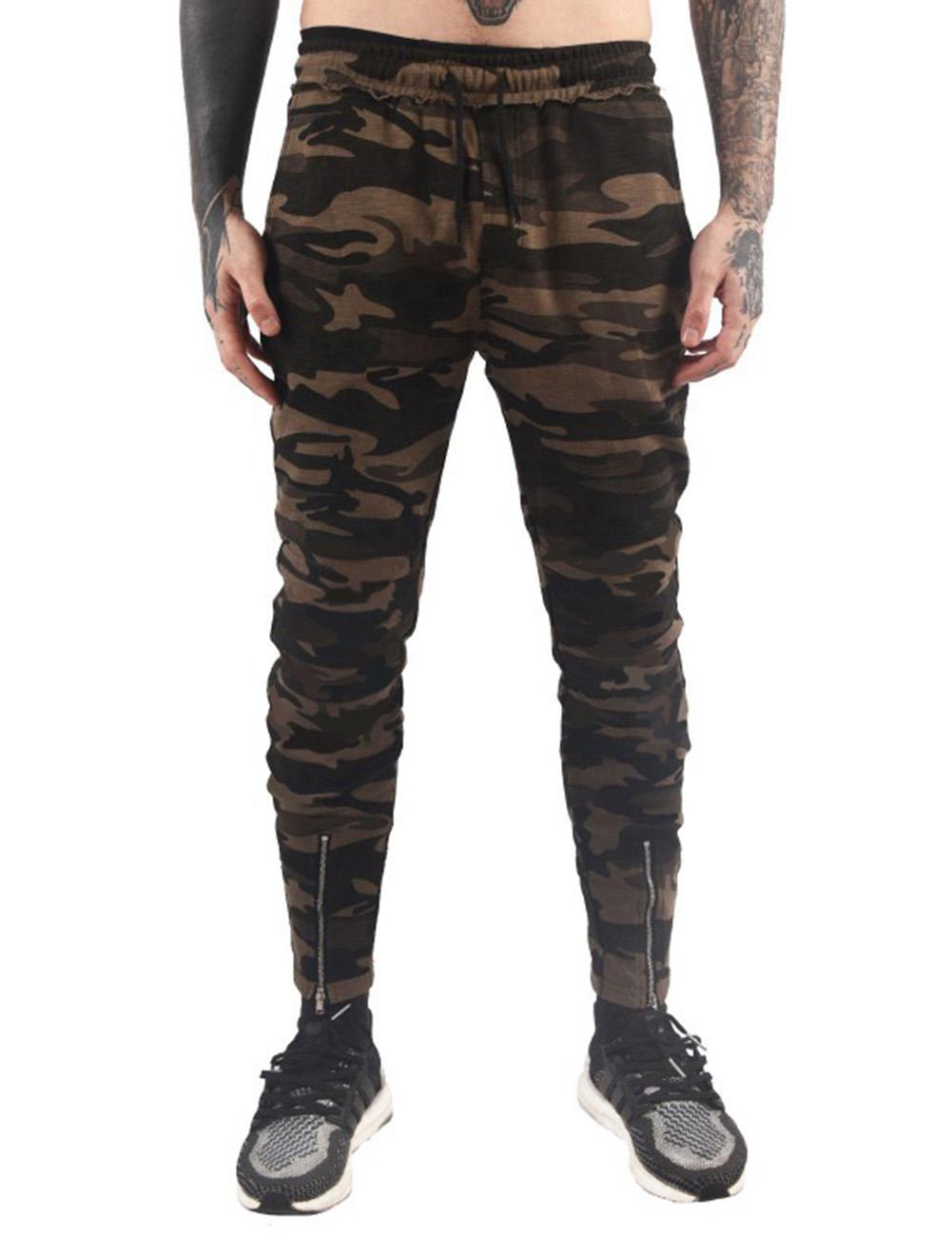 Stylish Men Camouflage Sports Trousers with Zipper Leg Opening Elastic Band Waist Long Pants Gift Green Camo_2XL