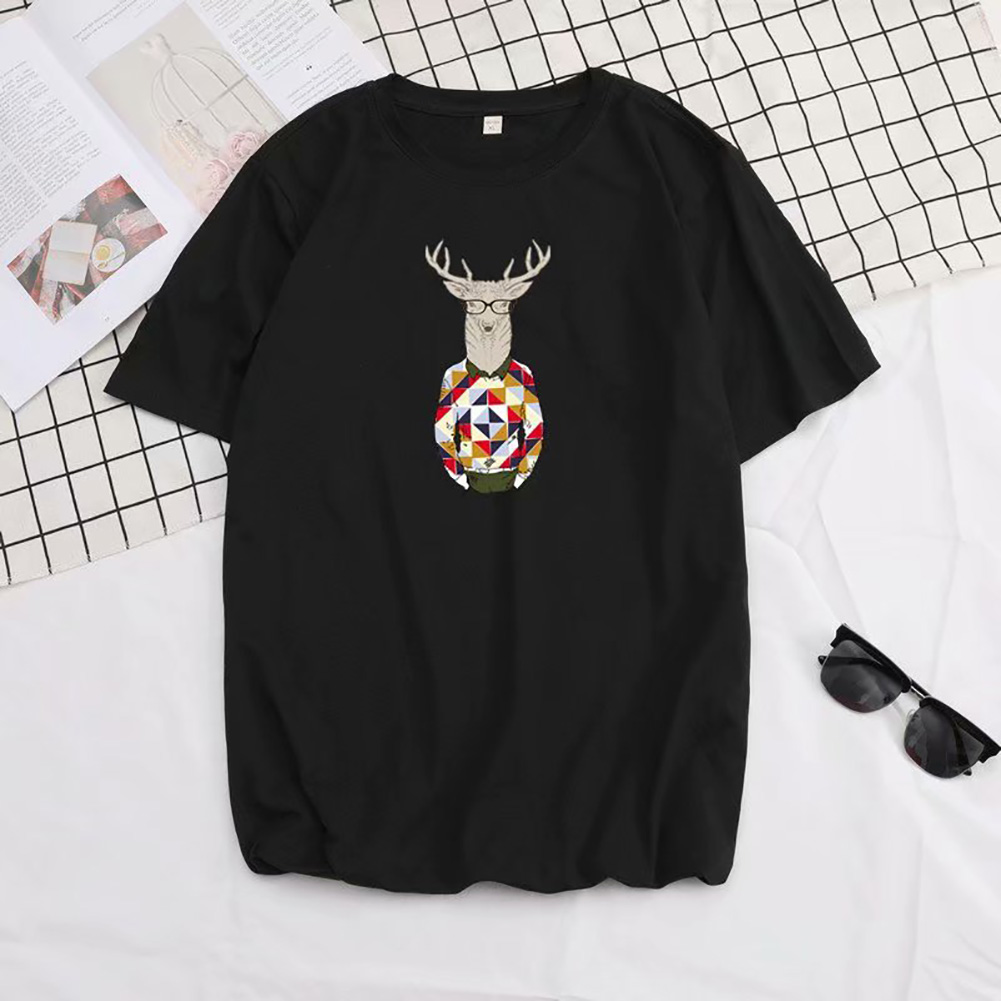 Men Summer Fashion Short-sleeved T-shirt Round Neckline Loose Printed Cotton Bottoming Top 632 black_M
