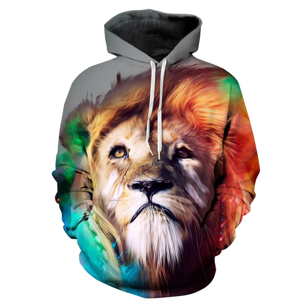 Cartoon 3D Lion Printing Hoodie Casual Long Sleeve Hooded Pullover Sweatshirt Tops Christmas Gift lion_L