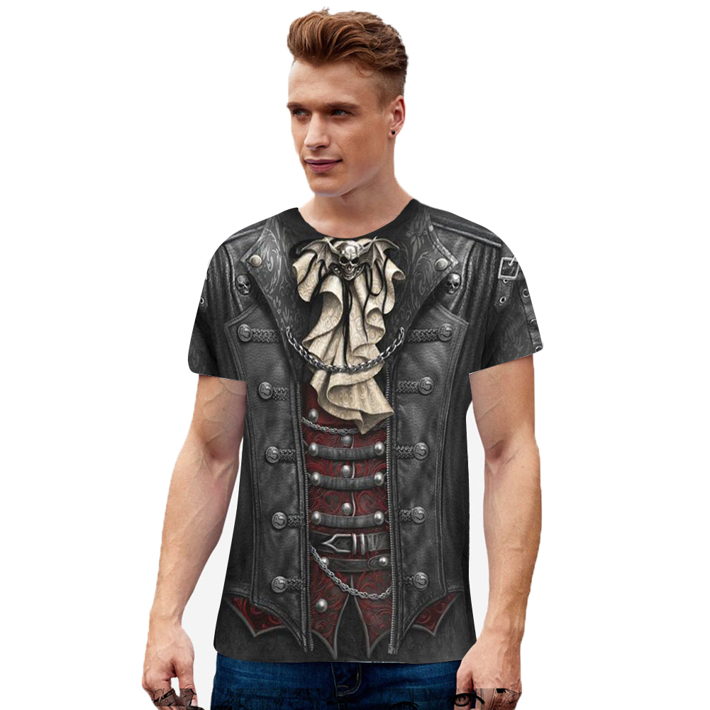 Unisex 3D Digital Printed Round Neck Cotton Short Sleeve T-shirt as shown_XXL