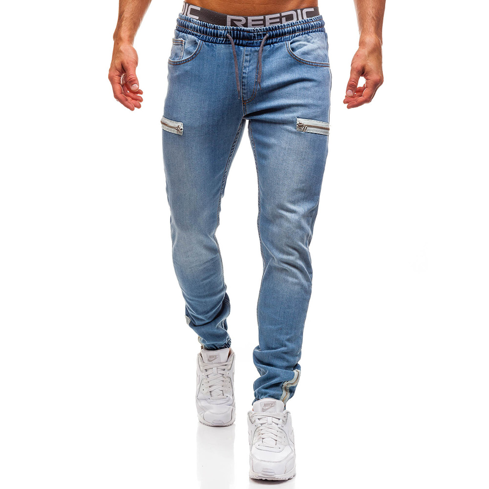 Men Fashion Casual Loose Frosted Zip Up Sports Jeans Denim Pants Trousers Light blue_M