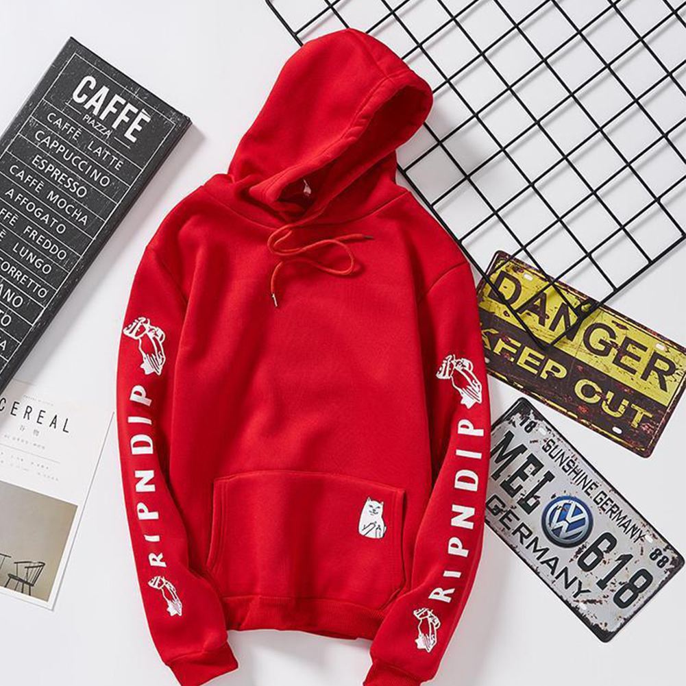 Unisex Fashion Plush All-matching Couple Simple Letters Printing Hoody Red 902#_XL