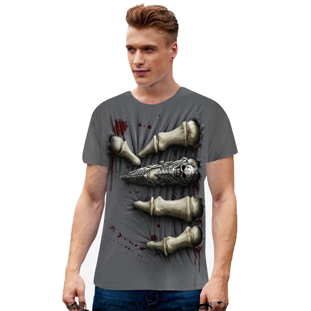 Unisex Round Neck Short Sleeve 3D Digital Bone Claw Printed T-shirt as shown_M