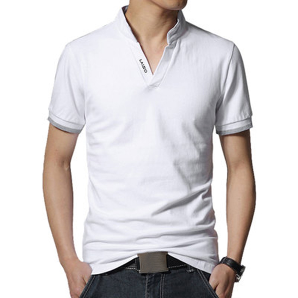 Men Casual Solid Color Cuff Stripe Pattern Standing Collar Shirt white_M
