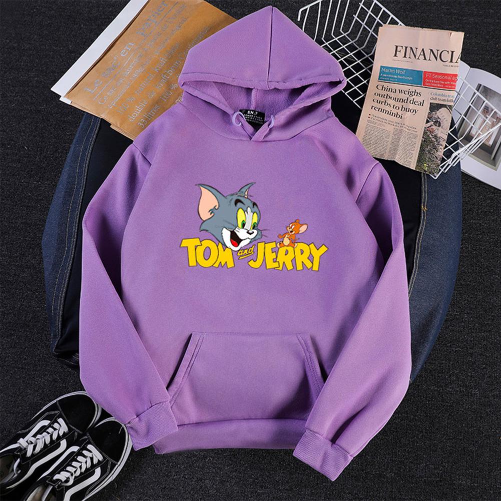 Men Women Hoodie Sweatshirt Tom and Jerry Cartoon Thicken Loose Autumn Winter Pullover Tops Purple_M