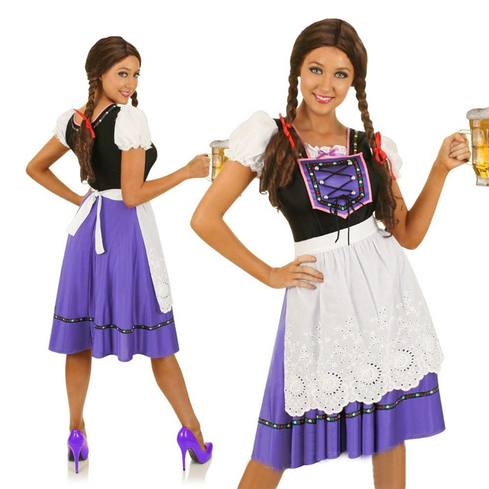 Women Cosplay Costume Retro Style Maid Dirndl Dress Suits for Halloween Beer Festival Halloween purple_L