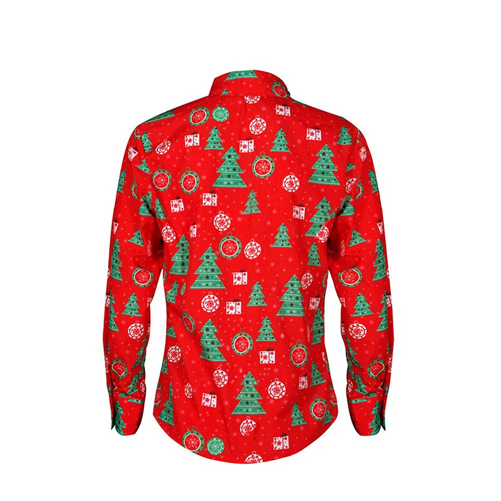 Christmas Cartoon Printing Male Lapel Shirt Men Blouse Shirt for Man red_L