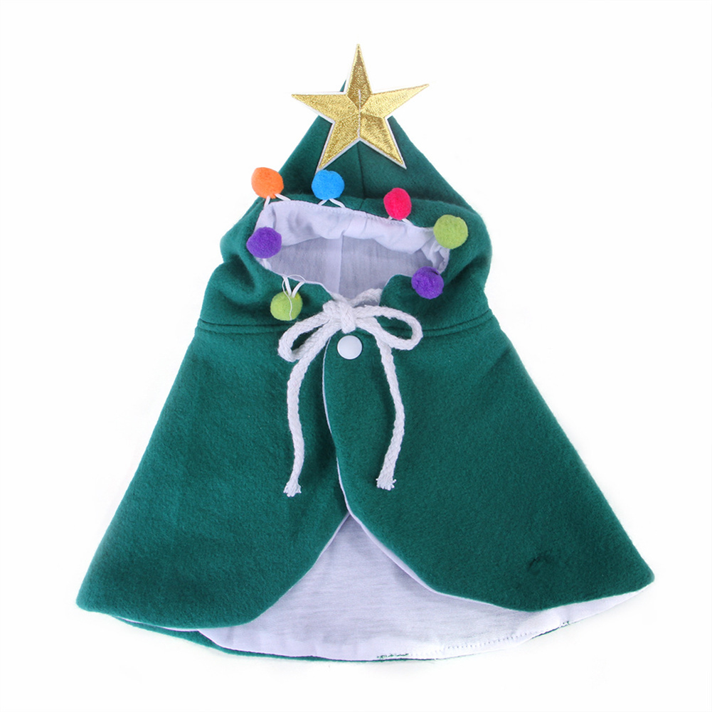Christmas Cloak Halloween Hooded Clothes for Small Dogs Cat Pet Photos Props Accessories green_M